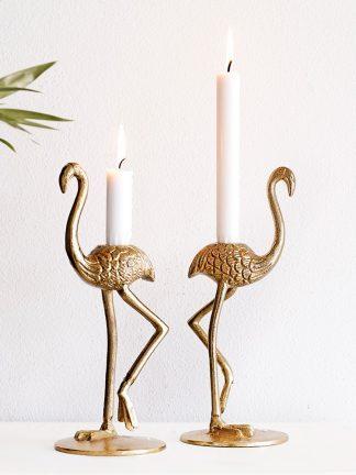 Ljusstake Golden Flamingo