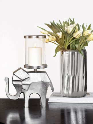 Indira Elephant Ljuslykta Silver